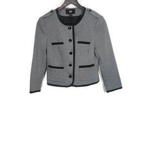 H&M Grey and Black Cropped Military Jacket